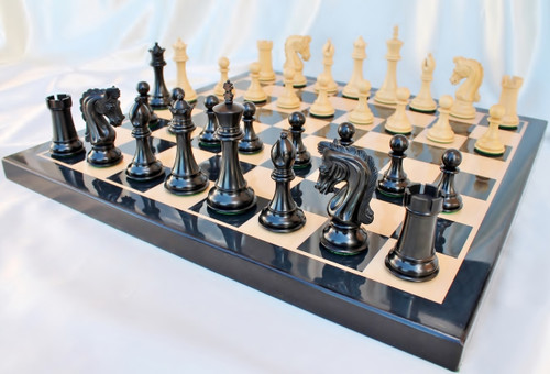 """Sir Lancelot du Lac Staunton Luxury Chess Set with 108mm (4.25"""") King in Ebony, Chess Board & TWO FREE Leather Chess Pieces Storage Cases"""