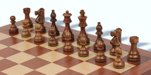 "French Lardy Tournament Staunton Wooden Chess Pieces Set with 95mm (3.75"") King"