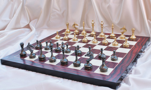 "Sleek and Modern Solid Brass Luxury Chess Set with 95mm (3.75"") King, Chess Board & Case"