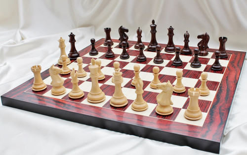 """Supreme Grand Master Staunton Luxury Chess Set with 102mm (4.00"""") King in Rosewood, Chess Board & Case"""