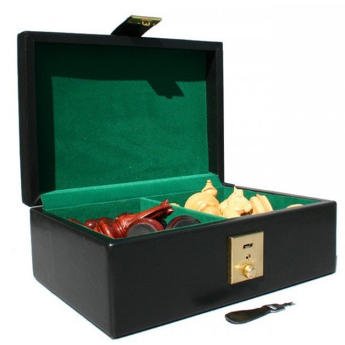 """Grand Master Staunton Luxury Brass Chess Set with 102mm (4.00"""") King, Rosewood  Chess Board & Case"""