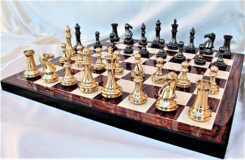 "Grand Master Staunton Luxury Brass Chess Set with 102mm (4.00"") King, Rosewood Chess Board & FREE Leather Chess Pieces Storage Case"