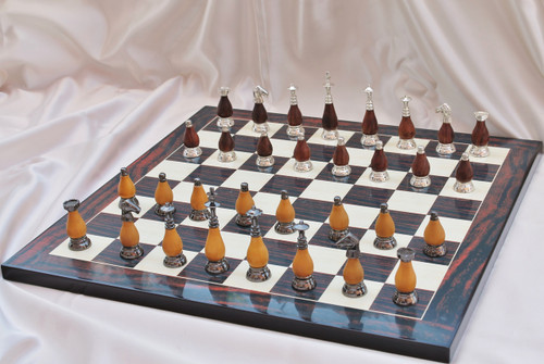 """Casablanca Classic Brass & Wood Modern Luxury Chess Set with 89mm (3.5"""") King, Chess Board & Case"""