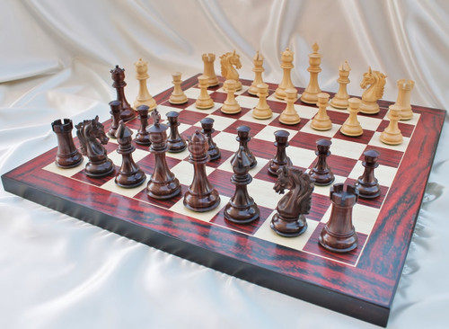 """Sir Galahad Knight Staunton Luxury Chess Set with 108mm (4.25"""") King in Rosewood, Chess Board & FREE Leather Chess Pieces Storage Case"""