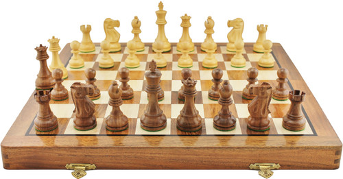 """Jaques of London Staunton Wooden Chess Set with 95mm (3.75"""") King, 46cm (18"""") Folding Chess Board"""