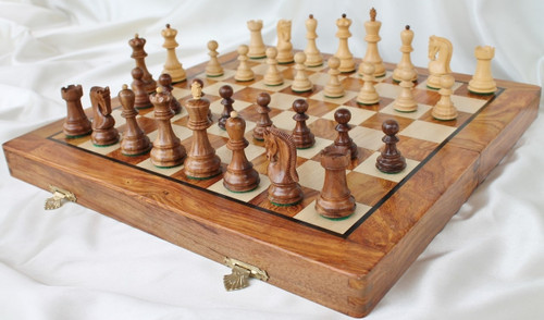 "Zagreb 59 Series Staunton Wooden Chess Set with 95mm (3.75"") King, 46cm (18"") Folding Chess Board"