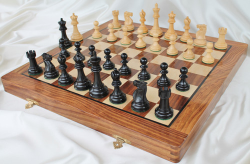 "Jaques of London Staunton Chess Set with 95mm (3.75"") King in Antique Black, 46cm (18"") Folding Chess Board"