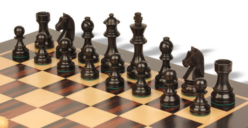 "Championship Classic Staunton Chess Pieces Set with 95mm (3.75"") King in Antique Black"