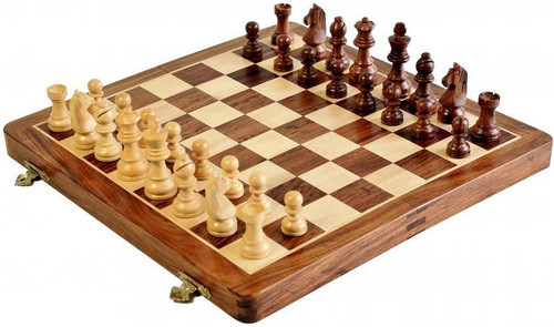 "Magnetic Chess Set Folding Wooden 25cm (10"")"