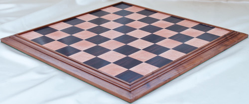 "Grand Master Custom Chess Board 53cm (21"") with Rosewood & Maple Screen Laminate and Ringy Rosewood surround"