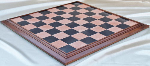 "Grand Master Custom Chess Board 53cm (21"")  with Ebony & Maple Screen Laminate and Ringy Rosewood surround"