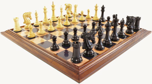 """Sir Lancelot du Lac Staunton Luxury Chess Set with 108mm (4.25"""") King in Ebony, GRANDMASTER Chess Board & TWO FREE Leather Chess Pieces Storage Cases"""