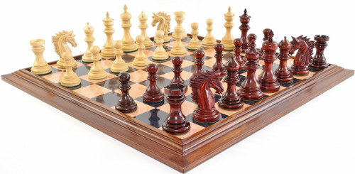 "Centurion Knight Staunton Luxury Chess Set with 114mm (4.5"") King in African Padauk, GRANDMASTER Chess Board & FREE Presentation Case"
