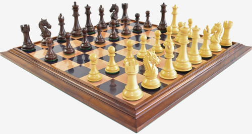 "Heritage Knight Staunton Luxury Chess Set with 108mm (4.25"") King in Rosewood, GRANDMASTER Chess Board & Case"