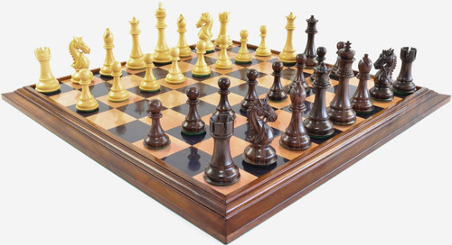 """Heritage Knight Staunton Luxury Chess Set with 108mm (4.25"""") King in Rosewood, GRANDMASTER Chess Board & FREE Leather Chess Pieces  Storage Case"""