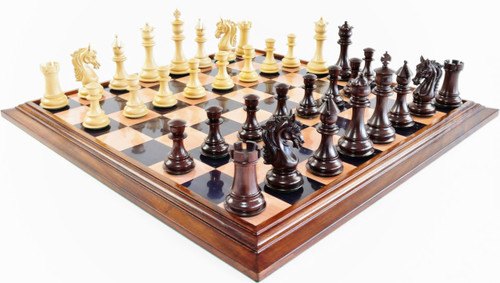 "Sir Galahad Knight Staunton Luxury Chess Set with 108mm (4.25"") King in Rosewood, GRANDMASTER Chess Board &  FREE Leather Chess Pieces Storage Case"