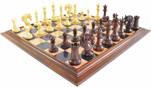 """Legendary Templar Knights Staunton Luxury Chess Set with 108mm (4.25"""") King in Rosewood, GRANDMASTER Chess Board & Case"""