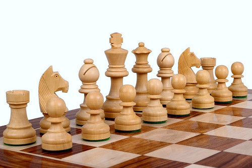 """Championship Classic Staunton Wooden Chess Pieces Set with 82mm (3.25"""") King in ANTIQUE BLACK"""