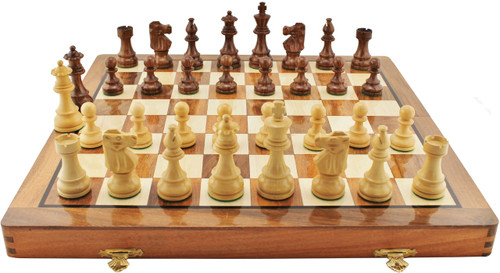 "French Lardy Staunton Wooden Chess Set with 82mm (3.25"") King, 41cm (16"") Folding Chess Board"