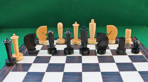 """Hans Berliner Contemporary Wooden Chess Pieces Set with 95mm (3.75"""") King in ANTIQUE BLACK. LIMITED STOCK"""