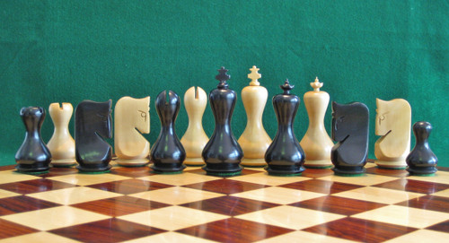 "Hourglass Antique Design Wooden Chess Pieces Set with 95mm (3.75"") King in ANTIQUE BLACK"