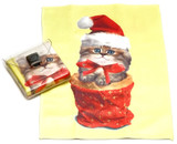 Holiday Christmas Theme Cleaning Cloth, Kitten