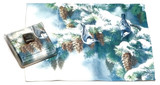 Holiday Christmas Theme Cleaning Cloth, Birds with Snow