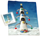 Holiday Christmas Theme Cleaning Cloth, Oh Penguin Tree