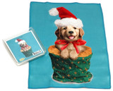 Holiday Christmas Theme Cleaning Cloth, Golden Silo