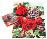 Holiday Christmas Theme Cleaning Cloth, Cones And Roses