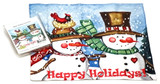 Holiday Christmas Theme Cleaning Cloth, Happy Holidays Snowmen