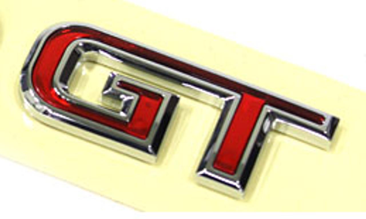 GT car emblem, red/chrome