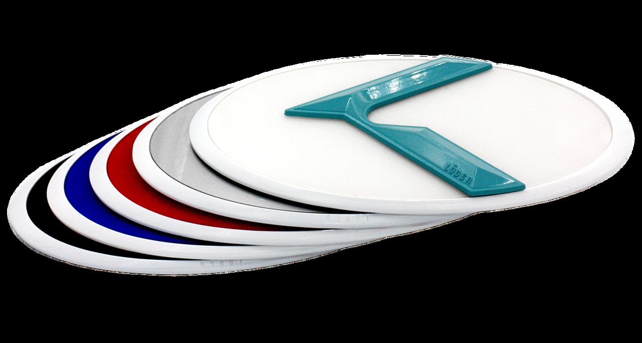 LODEN 3.0 K Badges (WHITE EDGE) for Kia Models (100+ Colors)