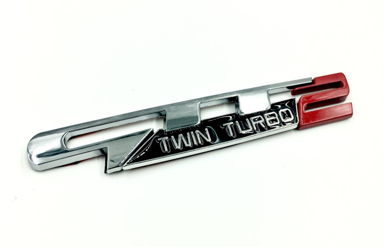 GTT2 Twin Turbo Emblem 3pc Design (Chrome-Red)