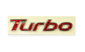 Turbo emblem chrome plated edges with dazzling Red face