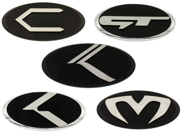 Original Carbon/Stainless Steel Badges for KIA Models (20 Versions)