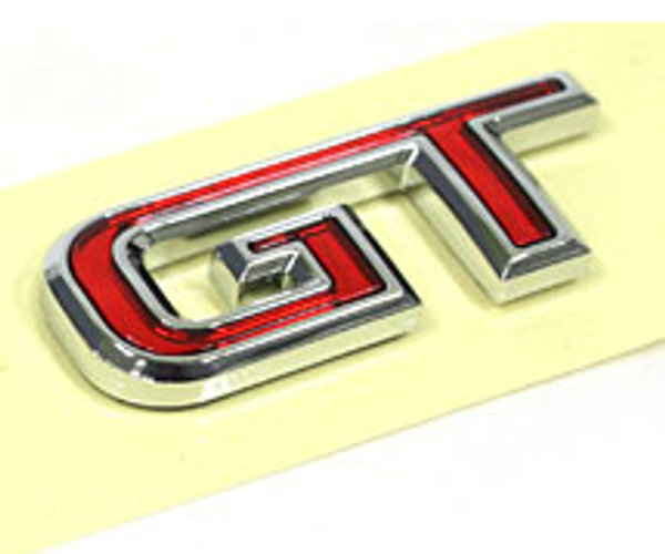 GT car emblem, red/chrome