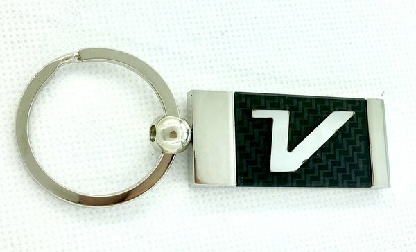 V Logo Chrome / Carbon Optic Metal Key Chain VChain