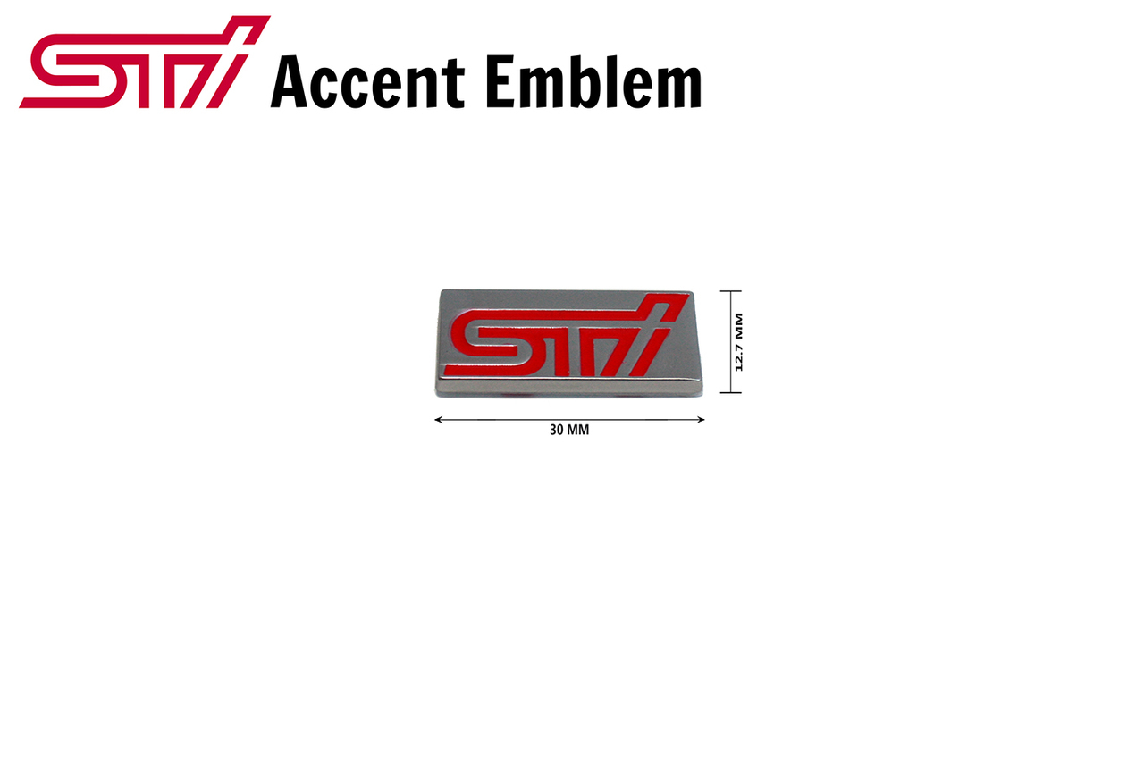 STI Mini chicklet accent emblem side skirt, front grill
