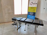 Omni stationary 2 drop bench cervical drop and pelvic drop, cervical elevation, tilt and translateral head piece slide, chiropractic table.