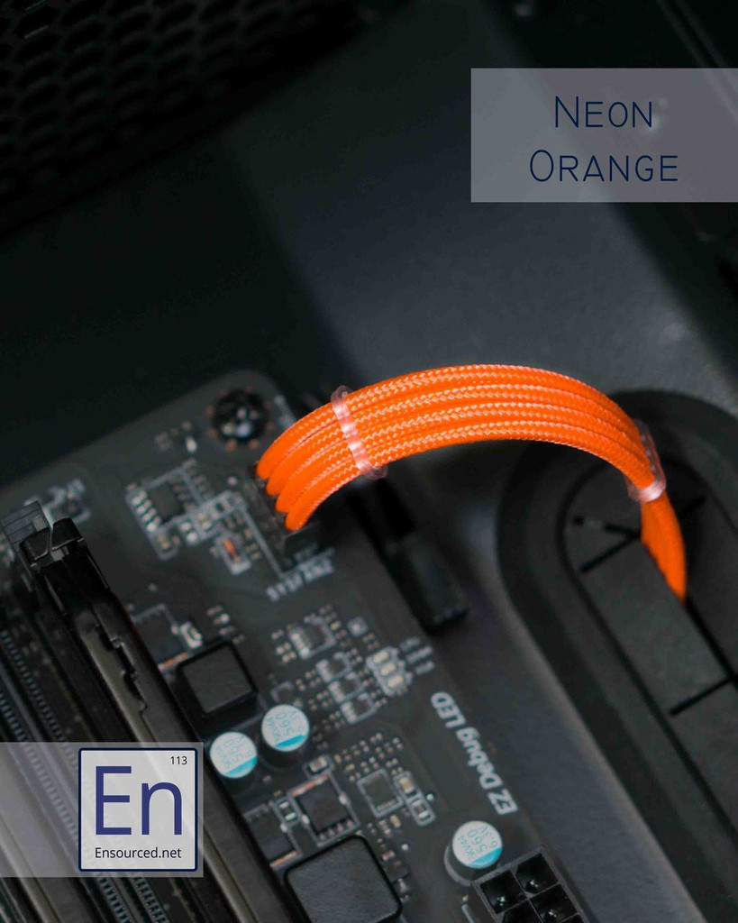 Neon Orange Paracord Sleeved Fan Extension