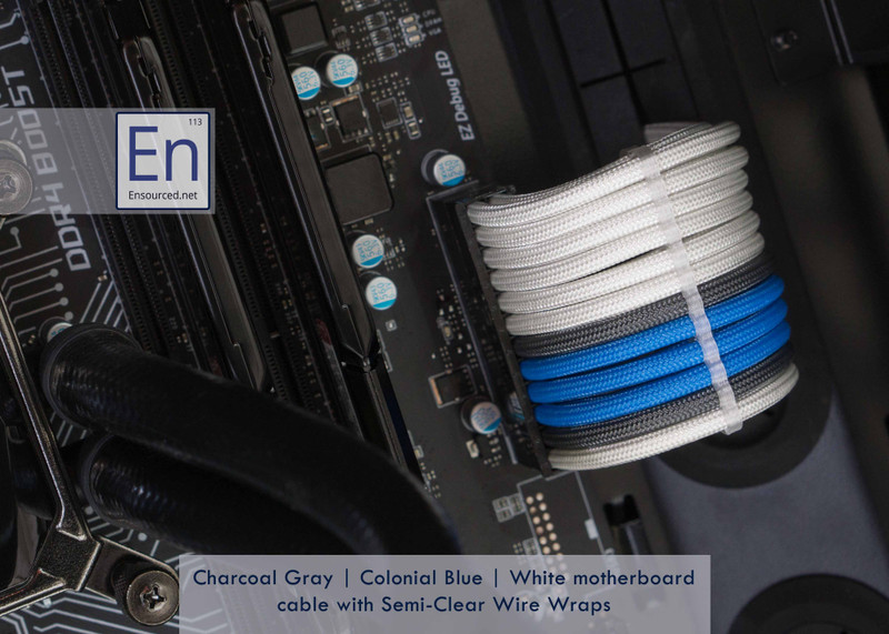Charcoal Gray | Colonial Blue | White color combo with Semi-Clear Wire Wraps