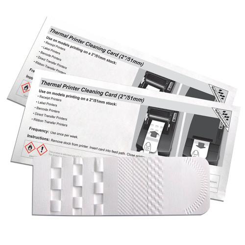"KICTeam K2-T2186B25 Thermal Printer Cleaning Card 2 1/8"" x 6"" (53.9mm x 152.4mm) (Box of 25)"