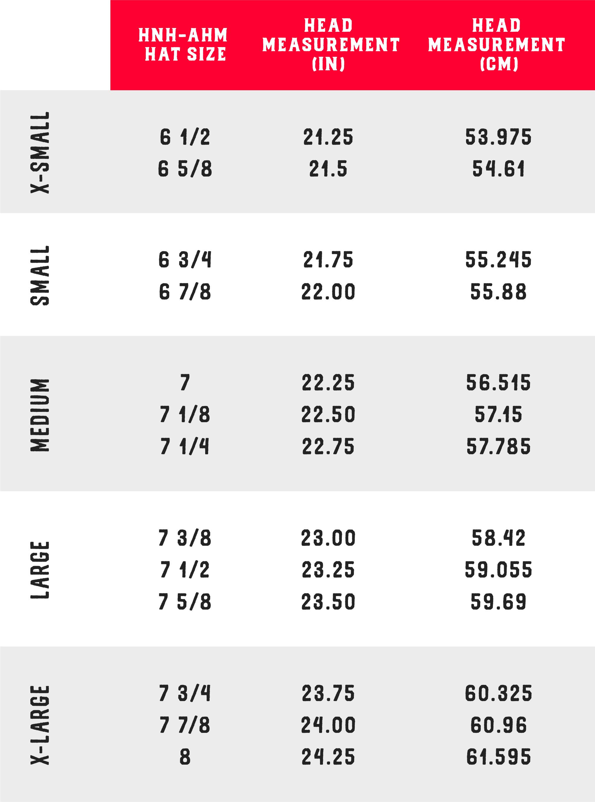 Comeaux Caps sizing chart