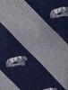 Penn State Tie Navy & Silver Stripe Lion Shrine Silk