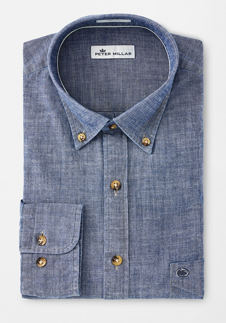 Peter Millar Penn State Blue Ridge Shirt- Chambray
