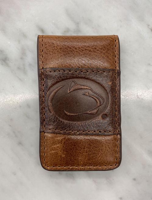 Penn State Money Clip | Tan & Cognac Leather
