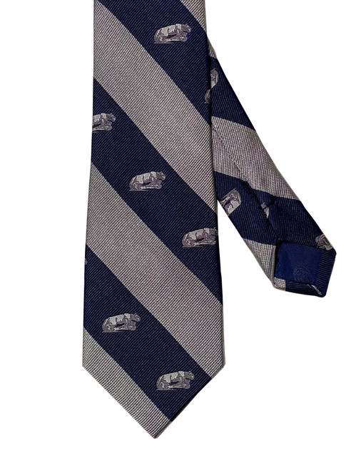 Penn State Tie Navy & Silver Stripe Lion Shrine Silk