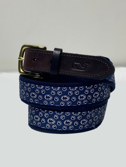 Vineyard Vines Penn State Canvas & Leather Belt