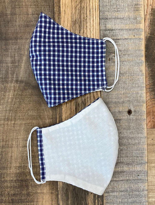 Tailor Made Fashion Face Mask Navy Blue White Check Reversible Cotton